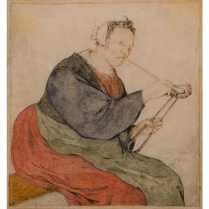Een vrouw die een pijp aansteekt