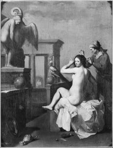 David bespiedt vanaf zijn paleis het  toilet van Batseba (2 Samuel 11:2)