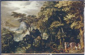 Boslandschap met een bijbelse voorstelling, mogelijk Christus en de overspelige vrouw