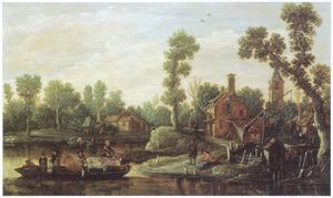 Landschap met veerpont bij een dorp