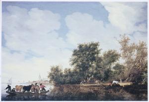 Rivierlandschap met koeien in een veerpont