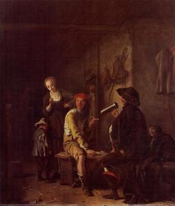 Interieur met een drinker, een roker en een kind dat een standje krijgt