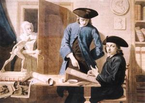 Zelfportret van Cornelis van Noorde (1731-1795) met Taco Hajo Jelgersma (1702-1795)