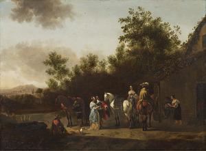 Elegant gezelschap met paarden voor een huis