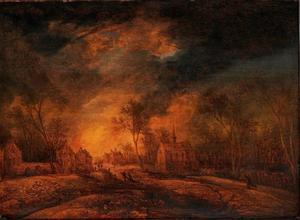 Landschap met een brandend dorp