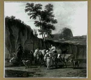 Zuidelijk landschap met rustende reizigers en herders met hun vee bij een fontein