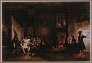 Wachtlokaal met hollandse officieren in de avond