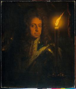 Portret van Willem III van Oranje-Nassau (1650-1702) bij kaarslicht