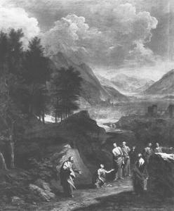 Berglandschap met de opwekking van Lazarus