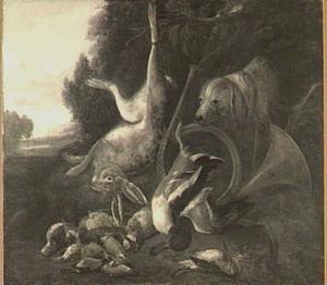 Landschap met jachtbuit van haas en gevogelte, rechts een hond
