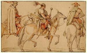 Drie Hongaarse soldaten te paard