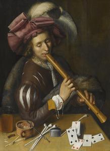 Jonge man die op een tenorblokfluit speelt
