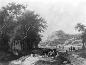 Landschap met figuren en een stad op de achtergrond