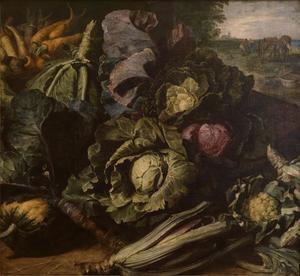 Stilleven met groenten in een landschap