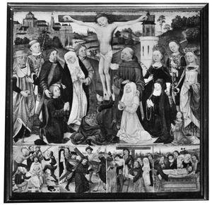 Episoden uit de Passie van Christus met heiligen en stichters