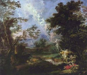 Landschap met de droom van Jacob: engelen dalen uit de hemel af en stijgen op van de aarde op een ladder (Genesis 28:10-22)