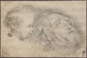 Schets van het hoofd van een oude man en een kind