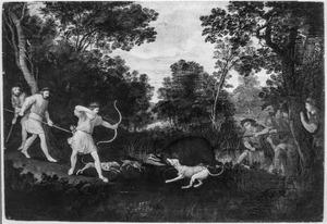 Boslandschap met zwijnenjacht (mogelijk scène uit een herdersspel)