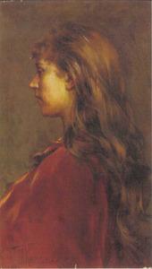 Portret van een jonge vrouw met lange haren