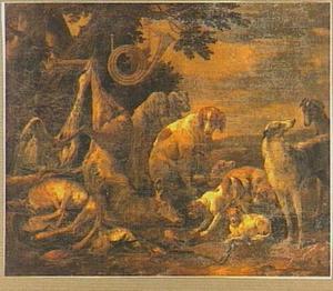 Landschap met jachtbuit en honden