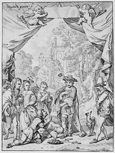 De koning van Napels schenkt genade aan de verraders Frederico en Albano. Laatste scène uit het blijspel  'Veranderlyk Geval, of Stantvastige Liefde' van Diederick Heynck, 1663