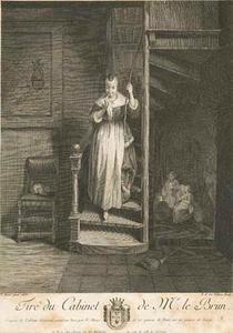 Meisje met twee mannen in een kelder, afgeluisterd door een jonge vrouw