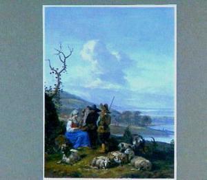 Drie herders met hun kudde in een rivierlandschap