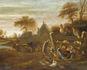 Boerenerf met pluimvee, koeien en een jongen spelend met zijn hond