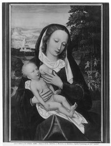 Maria met kind voor een landschap met een fontein, engelen en een lam