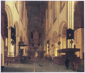 Interieur van de Oude Kerk te Delft, gezien naar het westen en het orgel