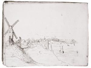 Antwerpen met links een windmolen en rechts de Schelde