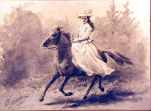 Ruiterportret van koningin Wilhelmina (1880-1962)