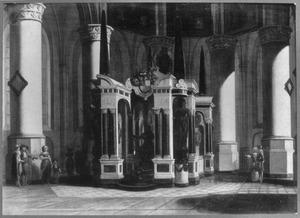 Interieur van de Nieuwe Kerk te Delft met het praalgraf van Prins Willem I