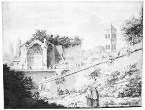 Twee monniken bij een muur, ruïne en kerktoren