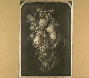 Festoen van vruchten en korenhalmen aan een blauwe strik