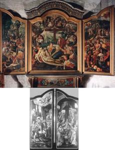 Drieluik met de Zeven Smarten van Maria (middenpaneel); voorstellingen uit de geschiedenis van de tienduizend martelaren (binnenzijde luiken); voorstellingen uit het leven van de H. Martinus (buitenzijde luiken); handen, voeten en hart van Christus en Arma Christi tussen rolwerk (predella)