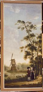 Landschap met windmolen en een echtpaar op de voorgrond