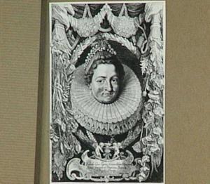 Portret van aartshertogin Isabella Clara Eugenia, omrankt door bloemfestoenen