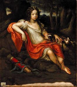 Portret van Charlotte von Braunschweig-Lüneburg, oudste dochter van hertog Johannes Friedrich von Braunschweig-Lüneburg en hertogin Bendicta-Henrietta van de Pfaltz als de godin Diana
