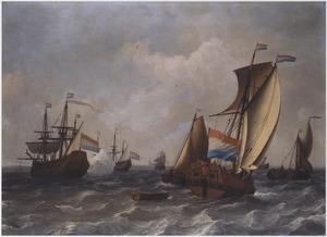 Nederlandse schepen op zee, links lost een driemaster een saluutschot