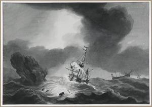 Zeilschepen op zee tijdens storm