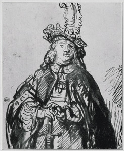 Jongeman met baret en zwaard