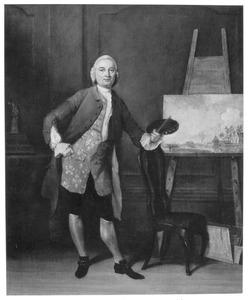 Portret van de schilder Jan ten Compe (1713-1761) met een van zijn schilderijen op de ezel, voorstellende Huis Groeneveld bij Ouderkerk