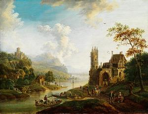 Rijnlandschap met burcht op de oever met velerlei menselijke activiteiten