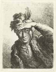 Portret van een man met een gevederde baret