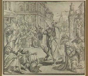 De profeet Jonas voorspelt de ondergang van Nineve in veertig dagen (Jona 3:4-9)
