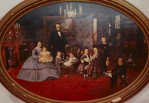 Portret van Joost van Vollenhoven (1818-1884) met echtgenote en kinderen