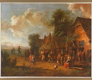 Dansende boeren voor een herberg