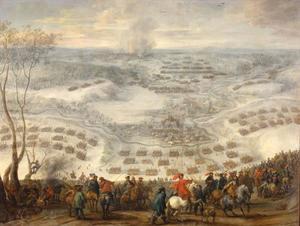 Het verjagen der Zweden door de keizerlijke en Beierse troepen onder Ottavio Piccolomini op 27 maart 1641 nabij Pressnitz