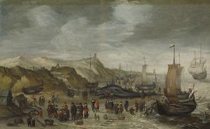 Een aangespoelde potvis op het strand bij Noordwijk, 28 december 1614